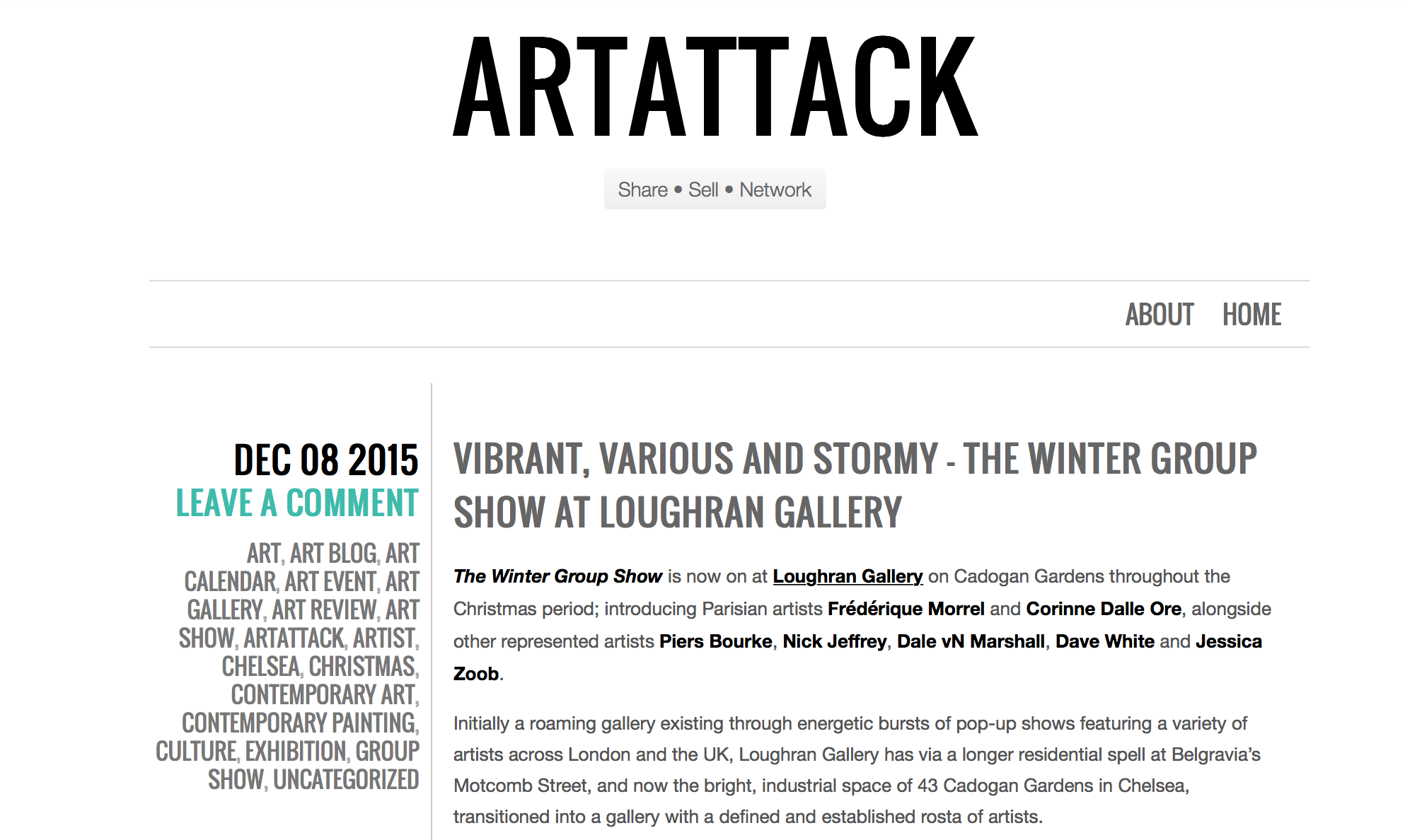 Permalink to ARTATTACK reviews Loughran Gallery's Winter Group Show